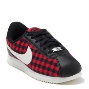 New Size 7 Nike Cortez Red Black Plaid Sneakers